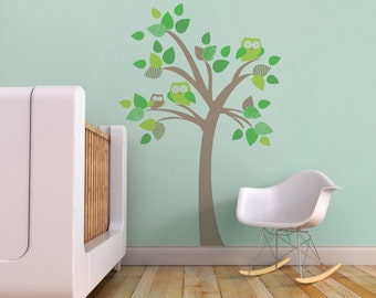 Nursery Wall Decal Baby Nursery Tree Decal Owls Green Kids Room Decor Wall Decor Baby Nursery Sticker. Tree with Owls Children Wall Decal
