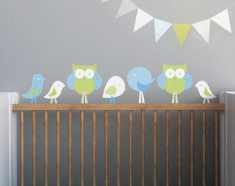 Wall Decals Nursery, Nursery Decal, Wall Decal Woodland, Kids Wall Decal, Kids Decor, Children's Rooms. Birds and Owls Children Wall Decal