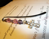 Pink and Purple Beaded Bible Bookmark with Cross Charm