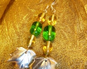FREE SHIPPING. Yellow and Green Glass Bead, Silver Leaf Earrings