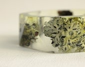 lichen and twig eco resin bangle with triangular facets