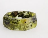 woodland lichen eco resin bracelet with octagonal facets contains real moss, lichen and twigs