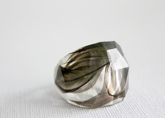 Blue crown conure parrot feather multifaceted transparent eco ring