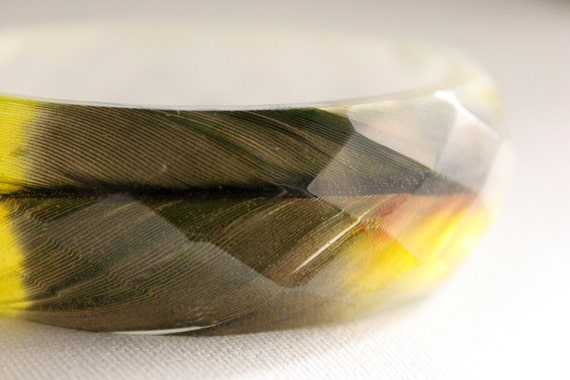 amazon parrot feather chartreuse green pink yellow multifaceted eco resin bangle