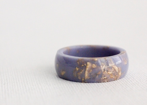 Lavender gold eco resin ring with metallic gold flakes