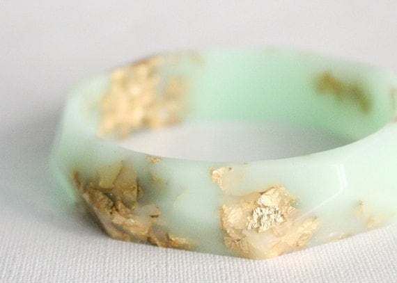 mint gold eco resin faceted bracelet bangle with gold leaf