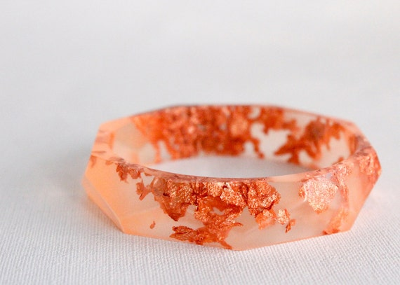 apricot copper eco resin faceted bracelet bangle with copper leaf