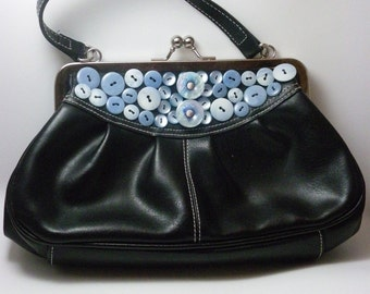 Sweet Black Purse with Vintage Blue Buttons
