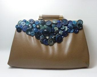 Embellished Tan Leather Vintage Clutch
