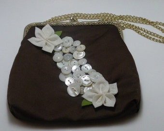 Cute Brown Vintage Embellished Silk Purse
