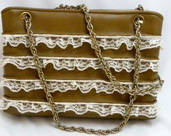 Vintage Tan Leather Purse Embellished with Lace Trim