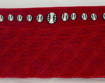 Red Velvet Murval Clutch Embellished with Black and White Rhinestone Buttons