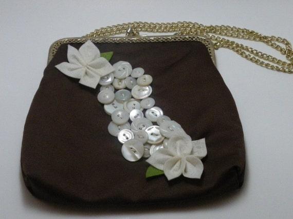 Cute Brown Vintage Embellished Silk Purse