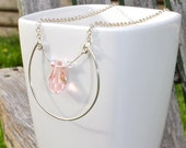 "Summer Teardrops. Large Pink Rose Swarovski Crystal and Hand Shaped 16"" Silver Chain Necklace."
