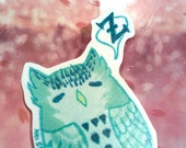 Teal Owl Sticker One of a Kind