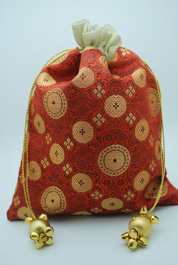 ... Medallion Brocade Silk Favor Gift Wedding Bag Ribbon Pouch Jewelry