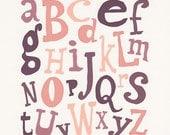 Hand lettered ABC 'Chocolate' Nursery Print