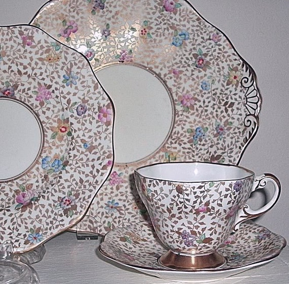 NEW, EVEN Lower Price. Foley Gold Chintz Teacup and Saucer with Enamel Flowers