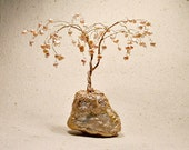 Tree of life, bonsai, freshwater pearls and gold brass, earrings and rings holder tree display, (a11)