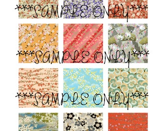 Set of 48 Japanese Chiyogami Yuzen Washi Collage 2 x 2 Inch Square 4 Digital Image Sheets Printable DIY Scrapbook Jewelry Instant Download