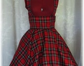 High waisted full circle skirt with suspenders - made to order