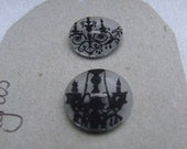3 chandler shrink plastic sew on buttons Black waterproof ink .craft or clothing