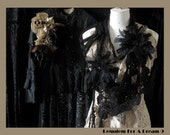 RESERVED dont buy it please , Requiem For A Dream 9 , Black Romantic Vintage Lace , Beads , Destroyed Organza Flowers For This Hybrid Garment , Shirt Front / Jabot / Scarf / Necklace