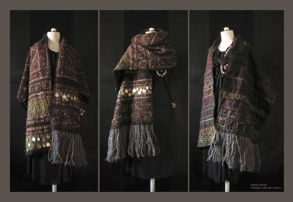 Boho Shawl Stole , Tribal , Ethnic  ,Indian Roots , Wearable Art , Hand Stitched Quilted Embroidered , One Of  A Kind