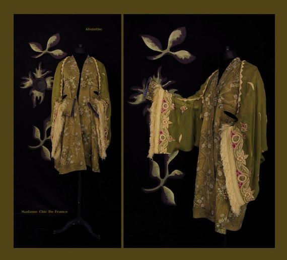 Hippie Chic Bolero Stole Shawl , Wearable Art , Upcycled Recycled , Ethnic , Indian Clothing , Free Size M/L/XL US 10/12/14/16/18/20
