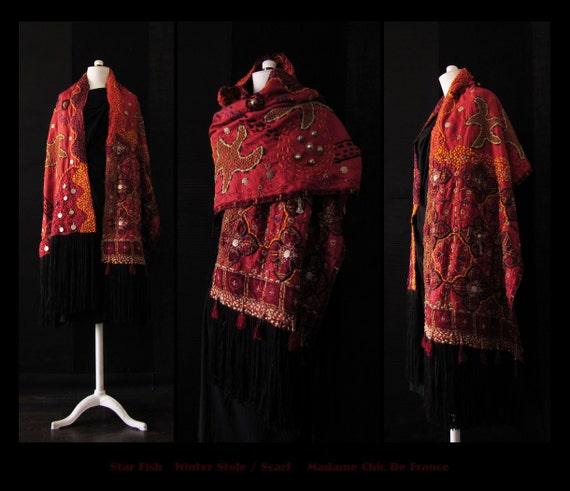 Luxurious Ethnic Shawl /Scarf /Stole ,Winter 2012/13 ,Wearable Art ,Tribal ,One Of A Kind ,Avant Garde,Hippie Chic, Free Size S/XL