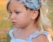 THE JILLIAN--Light Blue & Brown Feather Headband