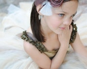 THE MADDIE--Brown & Ivory Satin Flower/Feather Headband with Netting Veiling