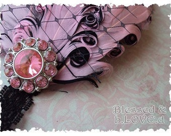 THE ALINA--Pink and Black Nagorie Feather Pad w/ Birdcage Netting