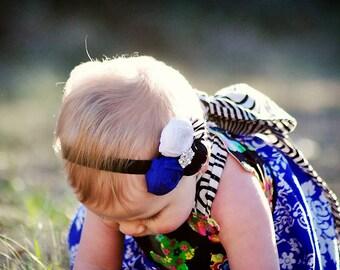 MIDNIGHT DIVA--Royal Blue, Black, & White Zebra Flower Headband