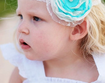 THE ALLISON--Cream & Aqua Fabric Flower Headband with Lace and Feathers