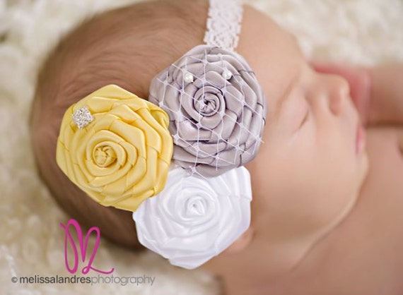 TRE CHIC--Yellow, White, & Gray Satin Flower Headband