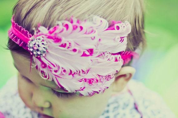 THE KENSINGTON--  Light Pink/Hot Pink Nagorie Feather Headband