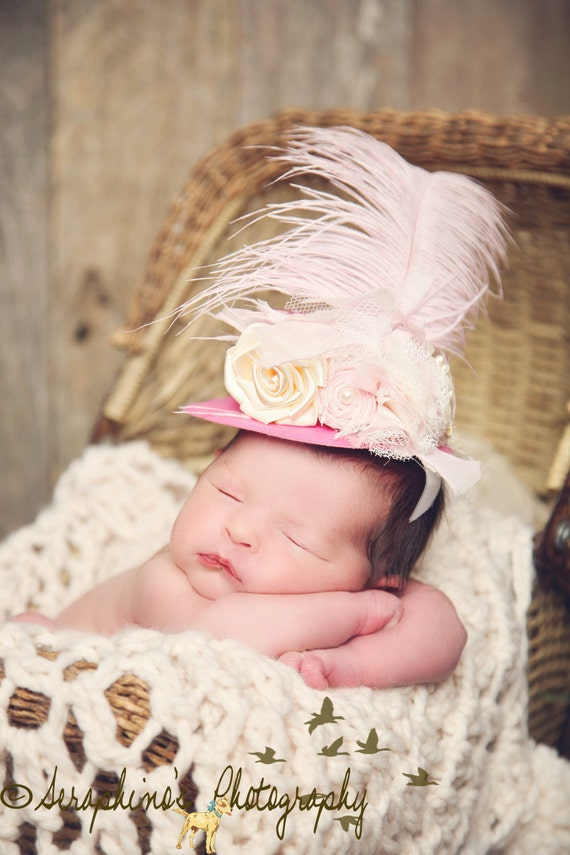 THE LORELAI--Pink and Cream Chiffon Satin Flower Lace Feather Mini Top Hat--Vintage Photography Prop