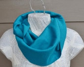 Deep Aqua Infinity Scarf from Cotton Knit--Ready to Ship