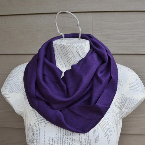 Deep Plum Purple Infinity Scarf from Cotton Knit