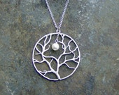 Silver Circular Tree with Pearl Moon Necklace