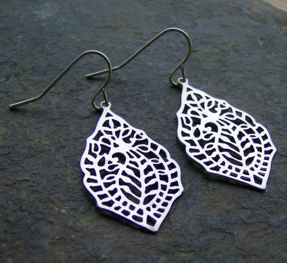 Last Pair - SALE - Going Out of Business - Paisley Leaf Filigree Earrings