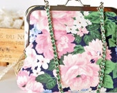 Eco Friendly Clutch -Floral Frame Purse with Green Ribbon and Chain Handle