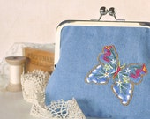 Upcycled Denim Clutch Frame Purse with Butterfly Embroidery