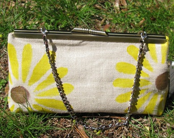 Clutch Purse Muslin with Sunflowers