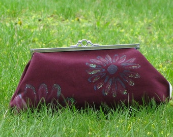 Clutch Purse Maroon with Pink and Blue Daisy