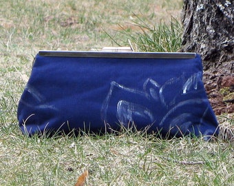 Clutch Purse Navy with White Flower
