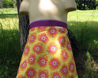 Wrap Skirt Reversible Orange Flowers with Purple Child 4-8