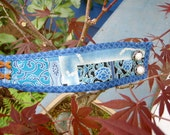 Cuff  - Japan Inspired  - Blue traditional patterns - Pearl-like buttons