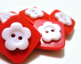 Button Magnets - Red and White for Refrigerator, Locker, Memo Board, Filing Cabinet - Be Mine Valentine - April Showers, May Flowers - Bold